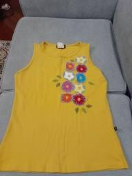 Camiseta regata bordada, tamanho M