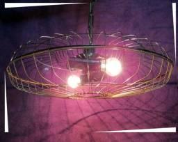 Lustre Teto Grade de Ventilador 2 Lampadas