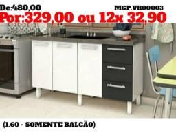 Balcão de Pia 1,60- Balcão de Cozinha- Balcão de 3 Gavetas 3 Portas-Balcão