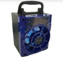 Caixa de Som Portatil LES 1018L Lehmox FM USB SD E Relógio