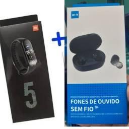 Kit fone Xiaomi + Relógio Miband 5