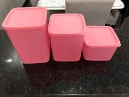 Jogo Tupperware Quadrado Rosa Quartzo 3 peças