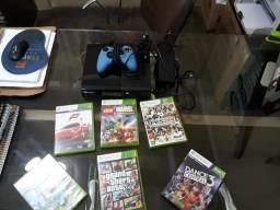 Xbox 360 2 controles 1 Kinect 5 jogos