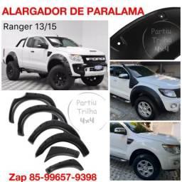 Alargador paralama não fura lataria ranger 13-15 kit completo