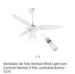 Ventilador de teto com controle instalado