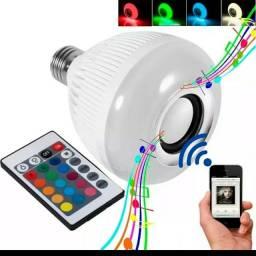 Lâmpada de led colorida com caixa de som com controle