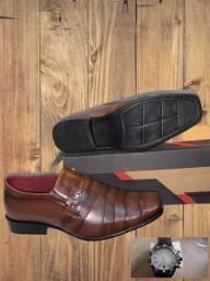 Sapato social masculino de couro com verniz nº 41