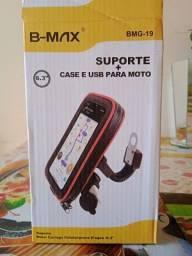 Suporte + case e USB para moto