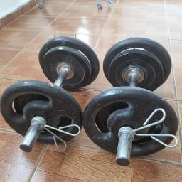 Kit : halteres + anilhas 24 kg + presilhas.