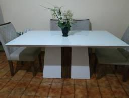 Mesa tampo de vidro 6 cadeiras