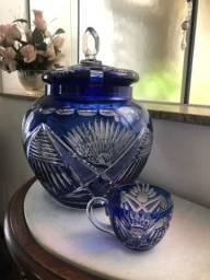 Poncheira cristal azul