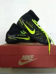 Chuteira da Nike Society Preta com verde