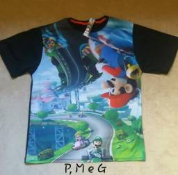 Camisetas Estampadas Games Mario Kart Assassin' s Creed Mega Drive